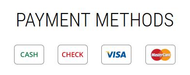 4 Payment Methods - Cash, Check, Visa, Mastercard